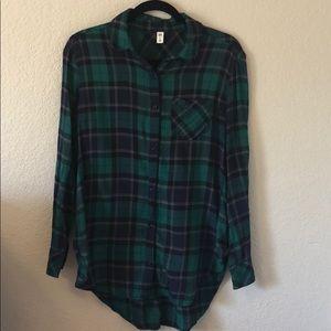 Tartan plaid tunic flannel